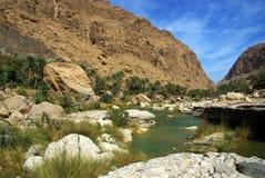 Lecho de un río seco Tiwi, Omán Foto de archivo