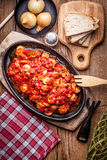 Lecho - stew with peppers, onions and sausages. Stock Image