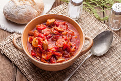 Lecho - stew with peppers, onions and sausages. Royalty Free Stock Photography