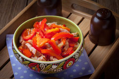 Lecho - stew with peppers, onions and sausages. Stock Images