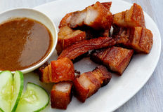 Lechon Kawali (Fried Lechon Baboy). Food from the Philippines; Lechon Kawali (Fried Lechon Baboy) Lechón kawali is pork meat, deep fried in a Kawali, which is royalty free stock photos