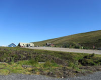 Lecht Ski Area, Scotland. LECHT, SCOTLAND, AUGUST 8 2014: Lecht Activity Centre in the eastern Cairngorms, is one of Scotlands five ski areas and also offers Royalty Free Stock Photo