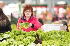 Lechuga de compra de la mujer en el mercado Fotografía de archivo libre de regalías