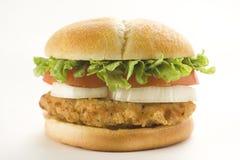 Lechuga quebradiza del queso de la cebolla del tomate de la hamburguesa del pollo Fotografía de archivo libre de regalías