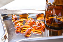 Lecithin supplement capsules Stock Photo