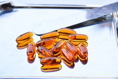 Lecithin supplement capsules Stock Photos