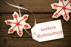 Leckere Weihnachten on a Label Stock Photos