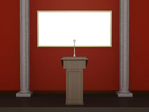 Lectern. One 3d render of a stage with a lectern and white billboard stock illustration