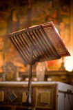 Lectern in altar with a holy bible. Royalty Free Stock Photo
