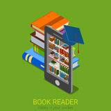 Lecteur électronique de livre de bibliothèque d'eBook en ligne plat isométrique de bibliothèque Photos stock