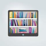 Lecteur d'EBook avec des étagères à livres illustration de vecteur