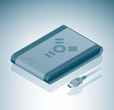Lecteur de disque dur portatif (câble d'incendie) Image stock