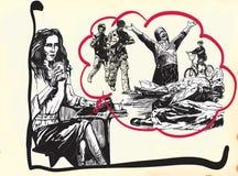 Lecteur de journal, titre - un tiré par la main, à main levée, vecteur illustration libre de droits