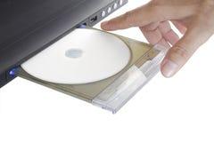 Lecteur DVD avec la main photo stock