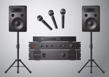 Lecteur DVD de haut-parleur de microphone d'amplificateur Images libres de droits