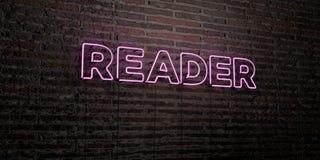 LECTEUR - enseigne au néon réaliste sur le fond de mur de briques - image courante gratuite de redevance rendue par 3D illustration de vecteur