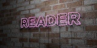 LECTEUR - Enseigne au néon rougeoyant sur le mur de maçonnerie - 3D a rendu l'illustration courante gratuite de redevance illustration libre de droits