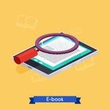 Lecteur et livres isométriques plats de l'eBook 3d Apprentissage en ligne illustration stock