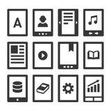 Lecteur Icons Set de Digital EBook Vecteur illustration de vecteur