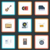 Lecteur mp3 plat d'icônes, bouton, boîte audio et d'autres éléments de vecteur L'ensemble de Melody Flat Icons Symbols Also inclu Image stock