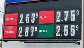 Lecteur Sign de prix du gaz à alimenter la station Photos libres de droits