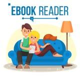 Lecteur Vector d'EBook Apprentissage en ligne Couples à la maison Bibliothèque en ligne Utilisant Ebook Dispositif alternatif Lec illustration libre de droits