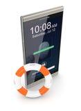 Lector de huella dactilar en un smartphone Fotografía de archivo libre de regalías