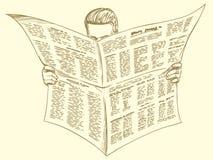 Lector de la prensa, noticias de la mañana ilustración del vector