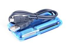 Lector de tarjetas azul y cable negro Imagen de archivo libre de regalías