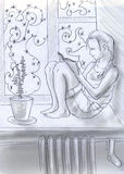 Lectura cerca de la ventana del invierno Imagenes de archivo