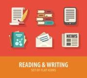 Lectura de la literatura y sistema de la escritura de iconos planos stock de ilustración