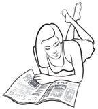 Lectura de la muchacha Imágenes de archivo libres de regalías
