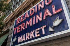 Lectura de la muestra del mercado terminal, Philadelphia, Pennsylvania Fotografía de archivo libre de regalías
