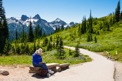 Lectura de la mujer en montañas Fotos de archivo