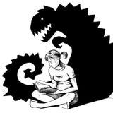 Lectura de una historia del horror ilustración del vector