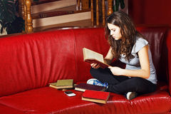 Lectura del adolescente en el país Foto de archivo