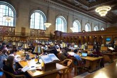 Lectura del estudiante en librairy público nacional de Nueva York Imagenes de archivo