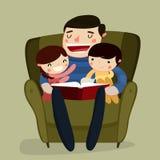 Lectura del padre y de los niños Ilustración del vector stock de ilustración