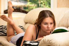 Lectura en el sofá Imagen de archivo libre de regalías
