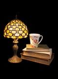 Lectura en la noche con un té imagen de archivo