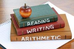 Lectura, escritura y aritmética Imágenes de archivo libres de regalías