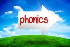 Lectura fonética contra la colina verde debajo del cielo azul ilustración del vector