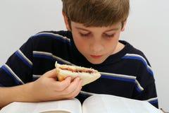Lectura joven w/sandwich del muchacho Imagen de archivo libre de regalías