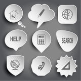 Lectura, pluma del fieltro, globo y reloj caseros, ayuda, calculadora, searc Foto de archivo libre de regalías