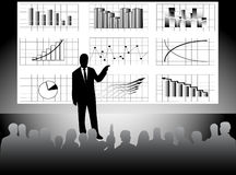 Lecture. Illustration of lecture, graphs and peoples Royalty Free Stock Photography