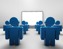 Lecture, business conference and educational training concept with blue people Stock Photography
