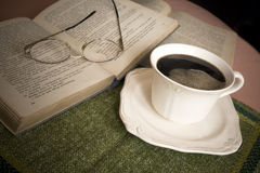 Lecture and coffee time. Cup of coffee, relaxing time with reading Stock Images