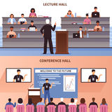 Lecture And Conference Hall Banner Set Royalty Free Stock Images