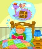 Lecture dans le lit Image libre de droits