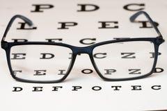 Lecture des lunettes et du diagramme d'oeil noirs Photo libre de droits